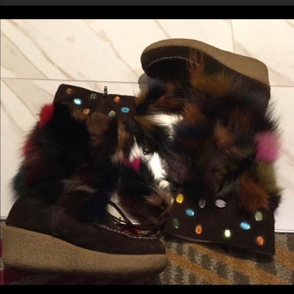 Sexy Brown Multicolor Faux Fur Boots